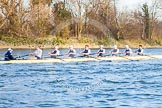 The Boat Race season 2014 - fixture OUBC vs German U23: The OUBC boat at the start of the second race.. River Thames between Putney Bridge and Chiswick Bridge,    on 08 March 2014 at 17:04, image #213