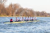 The Boat Race season 2014 - fixture OUBC vs German U23: The German U23 boat at the start of the second race.. River Thames between Putney Bridge and Chiswick Bridge,    on 08 March 2014 at 17:04, image #214