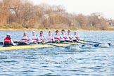 The Boat Race season 2014 - fixture OUBC vs German U23: The German U23 boat at the start of the second race: Cox Torben Johannesen, stroke Eike Kutzki, 7 Ole Schwiethal, 6 Arne Schwiethal, 5 Johannes Weissenfeld, 4 Maximilian Korge, 3 Malte Daberkow, 2 Finn Knuppel, bow Jonas Wiesen.. River Thames between Putney Bridge and Chiswick Bridge,    on 08 March 2014 at 17:04, image #215