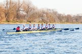 The Boat Race season 2014 - fixture OUBC vs German U23: The German U23 boat at the start of the second race: Cox Torben Johannesen, stroke Eike Kutzki, 7 Ole Schwiethal, 6 Arne Schwiethal, 5 Johannes Weissenfeld, 4 Maximilian Korge, 3 Malte Daberkow, 2 Finn Knuppel, bow Jonas Wiesen.. River Thames between Putney Bridge and Chiswick Bridge,    on 08 March 2014 at 17:04, image #217