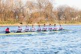 The Boat Race season 2014 - fixture OUBC vs German U23: The German U23 boat after the start of the second race: Cox Torben Johannesen, stroke Eike Kutzki, 7 Ole Schwiethal, 6 Arne Schwiethal, 5 Johannes Weissenfeld, 4 Maximilian Korge, 3 Malte Daberkow, 2 Finn Knuppel, bow Jonas Wiesen.. River Thames between Putney Bridge and Chiswick Bridge,    on 08 March 2014 at 17:05, image #220
