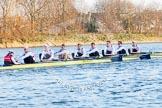 The Boat Race season 2014 - fixture OUBC vs German U23: The German U23 boat after the start of the second race: Cox Torben Johannesen, stroke Eike Kutzki, 7 Ole Schwiethal, 6 Arne Schwiethal, 5 Johannes Weissenfeld, 4 Maximilian Korge, 3 Malte Daberkow, 2 Finn Knuppel, bow Jonas Wiesen.. River Thames between Putney Bridge and Chiswick Bridge,    on 08 March 2014 at 17:05, image #221