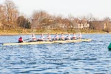 The Boat Race season 2014 - fixture OUBC vs German U23: The German U23 boat after the start of the second race.. River Thames between Putney Bridge and Chiswick Bridge,    on 08 March 2014 at 17:05, image #222