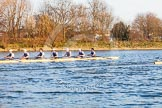 The Boat Race season 2014 - fixture OUBC vs German U23: The OUBC boat during the second race, with the German U23-boat, that started a length ahead, just visible on the right.. River Thames between Putney Bridge and Chiswick Bridge,    on 08 March 2014 at 17:05, image #223