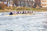 The Boat Race season 2014 - fixture OUBC vs German U23: The OUBC boat during the second race between Barnes Railway Bridge and the finish line at Chiswick Bridge.. River Thames between Putney Bridge and Chiswick Bridge,    on 08 March 2014 at 17:08, image #241