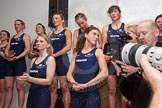 The Boat Race season 2014 - Crew Announcement and Weigh In: The Oxford crew for the 2014 Women's Boat Race: Elizabeth Fenje, Alice Carrington-Windo, Maxie Scheske, Nadine Graedel Iberg, Anastasia Chitty, Lauren Kedar, Amber De Vere, Laura Savarese and Erin Wysocki-Jones,. BNY Mellon Centre, London EC4V 4LA, London, United Kingdom, on 10 March 2014 at 11:52, image #61