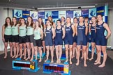 The Boat Race season 2014 - Crew Announcement and Weigh In: Group shot - The Women's Boat Race 2014 crews together on stage.. BNY Mellon Centre, London EC4V 4LA, London, United Kingdom, on 10 March 2014 at 11:56, image #70