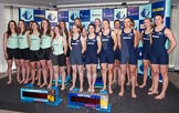 The Boat Race season 2014 - Crew Announcement and Weigh In: Group shot - The Women's Boat Race 2014 crews together on stage.. BNY Mellon Centre, London EC4V 4LA, London, United Kingdom, on 10 March 2014 at 11:56, image #73