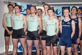 The Boat Race season 2014 - Crew Announcement and Weigh In: Group shot - The Boat Race 2014 crews together on stage, here the Cambridge men.. BNY Mellon Centre, London EC4V 4LA, London, United Kingdom, on 10 March 2014 at 12:11, image #127