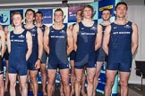 The Boat Race season 2014 - Crew Announcement and Weigh In: Group shot - The Boat Race 2014 crews together on stage, here the Oxford men.. BNY Mellon Centre, London EC4V 4LA, London, United Kingdom, on 10 March 2014 at 12:11, image #128