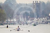 The Women's Boat Race and Henley Boat Races 2014: Hazy morning at Henley on the day of the Henley Boat Races 2014.. River Thames, Henley-on-Thames, Buckinghamshire, United Kingdom, on 30 March 2014 at 11:34, image #1
