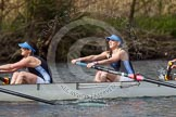 The Women's Boat Race and Henley Boat Races 2014: The Intercollegiate women's race. The Wadham College (Oxford) boat, 4 seat Rachel Anderson, 3 Lia Orlando.. River Thames, Henley-on-Thames, Buckinghamshire, United Kingdom, on 30 March 2014 at 13:27, image #18