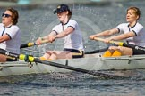 The Women's Boat Race and Henley Boat Races 2014: The Intercollegiate women's race. The Trinity College (Cambridge) boat, 5 seat Blanka Kesek, 4 Danielle Broadfoot, 3 Lydia Bass.. River Thames, Henley-on-Thames, Buckinghamshire, United Kingdom, on 30 March 2014 at 13:27, image #27