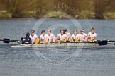 The Women's Boat Race and Henley Boat Races 2014: The Intercollegiate women's race. The Trinity College (Cambridge) boat following Wadham College.. River Thames, Henley-on-Thames, Buckinghamshire, United Kingdom, on 30 March 2014 at 13:28, image #40