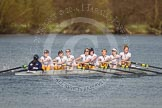 The Women's Boat Race and Henley Boat Races 2014: The Intercollegiate women's race. The Trinity College (Cambridge) boat following Wadham College.. River Thames, Henley-on-Thames, Buckinghamshire, United Kingdom, on 30 March 2014 at 13:28, image #41