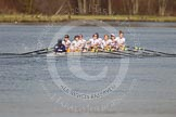 The Women's Boat Race and Henley Boat Races 2014: The Intercollegiate women's race. The Trinity College (Cambridge) boat following Wadham College.. River Thames, Henley-on-Thames, Buckinghamshire, United Kingdom, on 30 March 2014 at 13:28, image #44
