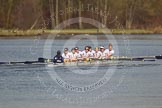 The Women's Boat Race and Henley Boat Races 2014: The Intercollegiate women's race. The Trinity College (Cambridge) boat following Wadham College.. River Thames, Henley-on-Thames, Buckinghamshire, United Kingdom, on 30 March 2014 at 13:28, image #45