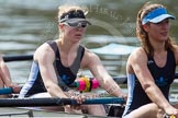 The Women's Boat Race and Henley Boat Races 2014: The Intercollegiate Women 's Race, in the Wadham College boat 6 seat Stephanie Hall, 7 Katia Mandaltsi.. River Thames, Henley-on-Thames, Buckinghamshire, United Kingdom, on 30 March 2014 at 13:39, image #67