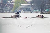 The Women's Boat Race and Henley Boat Races 2014: The Intercollegiate men's race. Oriel College (Oxford) on the right, Downing College (Cambridge) on the left. Behind the umpire's launch with a TV cameraman in front.. River Thames, Henley-on-Thames, Buckinghamshire, United Kingdom, on 30 March 2014 at 13:51, image #75