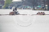 The Women's Boat Race and Henley Boat Races 2014: The Intercollegiate men's race. Oriel College (Oxford) on the right, Downing College (Cambridge) on the left. Behind the umpire's launch with a TV cameraman in front.. River Thames, Henley-on-Thames, Buckinghamshire, United Kingdom, on 30 March 2014 at 13:51, image #76