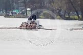The Women's Boat Race and Henley Boat Races 2014: The Intercollegiate men's race - shortly after the start at Henley. Downing College (Cambridge) on the left, followed by the umpire's launch.. River Thames, Henley-on-Thames, Buckinghamshire, United Kingdom, on 30 March 2014 at 13:51, image #78