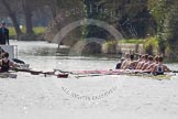 The Women's Boat Race and Henley Boat Races 2014: The Intercollegiate men's race. Oriel College (Oxford) and Downing College (Cambridge, on the left) getting closer.. River Thames, Henley-on-Thames, Buckinghamshire, United Kingdom, on 30 March 2014 at 13:51, image #80