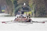 The Women's Boat Race and Henley Boat Races 2014: The Intercollegiate men's race. Oriel College (Oxford, on the very right) and Downing College (Cambridge) getting close enough for umpire Dave Hancock to intervene.. River Thames, Henley-on-Thames, Buckinghamshire, United Kingdom, on 30 March 2014 at 13:51, image #81