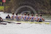 The Women's Boat Race and Henley Boat Races 2014: The Intercollegiate men's race. Oriel College (Oxford) and Downing College (Cambridge, on the left) are still close together.. River Thames, Henley-on-Thames, Buckinghamshire, United Kingdom, on 30 March 2014 at 13:51, image #83