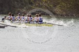 The Women's Boat Race and Henley Boat Races 2014: The Intercollegiate men's race. Oriel College (Oxford) and Downing College (Cambridge, on the left) are still close together.. River Thames, Henley-on-Thames, Buckinghamshire, United Kingdom, on 30 March 2014 at 13:51, image #84