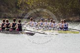 The Women's Boat Race and Henley Boat Races 2014: The Intercollegiate men's race. Oriel College (Oxford) and Downing College (Cambridge, on the left) are still close together.. River Thames, Henley-on-Thames, Buckinghamshire, United Kingdom, on 30 March 2014 at 13:51, image #85