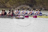 The Women's Boat Race and Henley Boat Races 2014: The Intercollegiate men's race. Oriel College (Oxford) and Downing College (Cambridge, on the left) are still close together.. River Thames, Henley-on-Thames, Buckinghamshire, United Kingdom, on 30 March 2014 at 13:51, image #86