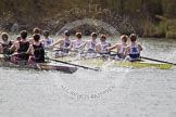 The Women's Boat Race and Henley Boat Races 2014: The Intercollegiate men's race. Oriel College (Oxford) and Downing College (Cambridge, on the left) are still close together.. River Thames, Henley-on-Thames, Buckinghamshire, United Kingdom, on 30 March 2014 at 13:51, image #87