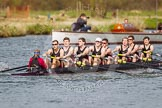 The Women's Boat Race and Henley Boat Races 2014: The Intercollegiate men's race. Downing College (Cambridge) passing the press launch.. River Thames, Henley-on-Thames, Buckinghamshire, United Kingdom, on 30 March 2014 at 13:52, image #107