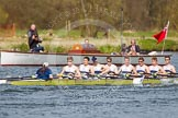 The Women's Boat Race and Henley Boat Races 2014: The Intercollegiate men's race. Oriel College (Oxford) passing the press launch.. River Thames, Henley-on-Thames, Buckinghamshire, United Kingdom, on 30 March 2014 at 13:52, image #108