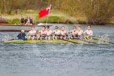 The Women's Boat Race and Henley Boat Races 2014: The Intercollegiate men's race. Oriel College (Oxford) passing the press launch.. River Thames, Henley-on-Thames, Buckinghamshire, United Kingdom, on 30 March 2014 at 13:52, image #109