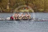 The Women's Boat Race and Henley Boat Races 2014: The Intercollegiate men's race. Downing College (Cambridge) approaching the finish line.. River Thames, Henley-on-Thames, Buckinghamshire, United Kingdom, on 30 March 2014 at 13:52, image #110