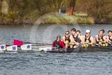 The Women's Boat Race and Henley Boat Races 2014: The Intercollegiate men's race. Downing College (Cambridge) and Oriel College (Oxford, on the left) getting close again.. River Thames, Henley-on-Thames, Buckinghamshire, United Kingdom, on 30 March 2014 at 13:52, image #111