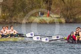 The Women's Boat Race and Henley Boat Races 2014: The Intercollegiate men's race. Downing College (Cambridge, on the right) and Oriel College (Oxford) getting close again.. River Thames, Henley-on-Thames, Buckinghamshire, United Kingdom, on 30 March 2014 at 13:52, image #113