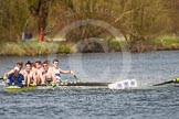 The Women's Boat Race and Henley Boat Races 2014: The Intercollegiate men's race. Downing College (Cambridge, on the right) and Oriel College (Oxford) getting too close, Oriel bow Callum Arnold in trouble.. River Thames, Henley-on-Thames, Buckinghamshire, United Kingdom, on 30 March 2014 at 13:52, image #114