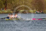 The Women's Boat Race and Henley Boat Races 2014: The Intercollegiate men's race. Downing College (Cambridge, on the right) and Oriel College (Oxford) getting too close, Oriel bow Callum Arnold in trouble.. River Thames, Henley-on-Thames, Buckinghamshire, United Kingdom, on 30 March 2014 at 13:52, image #115