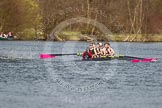 The Women's Boat Race and Henley Boat Races 2014: The Intercollegiate men's race. Downing College (Cambridge) approaching the finish line.. River Thames, Henley-on-Thames, Buckinghamshire, United Kingdom, on 30 March 2014 at 13:52, image #116