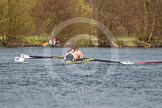 The Women's Boat Race and Henley Boat Races 2014: The Intercollegiate men's race. Oriel College (Oxford) approaching the finish line.. River Thames, Henley-on-Thames, Buckinghamshire, United Kingdom, on 30 March 2014 at 13:52, image #117