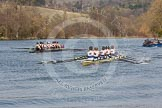 The Women's Boat Race and Henley Boat Races 2014: After the Intercollegiate men's race, the two boats returning to the start. Downing College (Cambridge, on the left) and Oriel College (Oxford).. River Thames, Henley-on-Thames, Buckinghamshire, United Kingdom, on 30 March 2014 at 14:00, image #118