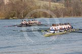 The Women's Boat Race and Henley Boat Races 2014: After the Intercollegiate men's race, the two boats returning to the start. Downing College (Cambridge, on the left) and Oriel College (Oxford).. River Thames, Henley-on-Thames, Buckinghamshire, United Kingdom, on 30 March 2014 at 14:00, image #119