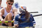 The Women's Boat Race and Henley Boat Races 2014: The Intercollegiate Men 's Race, stroke Rufus Stirling and cox Rebecca Preece.. River Thames, Henley-on-Thames, Buckinghamshire, United Kingdom, on 30 March 2014 at 14:00, image #128