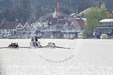 The Women's Boat Race and Henley Boat Races 2014: The Women's Reserves - Osiris v. Blondie race. Osiris (Oxford) on the left,  and Blondie (Cambridge) are getting close enough to be warned by the race umpire.. River Thames, Henley-on-Thames, Buckinghamshire, United Kingdom, on 30 March 2014 at 14:15, image #137