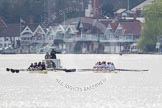 The Women's Boat Race and Henley Boat Races 2014: The Women's Reserves - Osiris v. Blondie race. Osiris (Oxford) on the left,  and Blondie (Cambridge) are getting close enough to be warned by the race umpire.. River Thames, Henley-on-Thames, Buckinghamshire, United Kingdom, on 30 March 2014 at 14:15, image #138