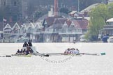The Women's Boat Race and Henley Boat Races 2014: The Women's Reserves - Osiris v. Blondie race. Osiris (Oxford) on the left,  and Blondie (Cambridge) are getting close enough to be warned by the race umpire.. River Thames, Henley-on-Thames, Buckinghamshire, United Kingdom, on 30 March 2014 at 14:15, image #139