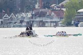 The Women's Boat Race and Henley Boat Races 2014: The Women's Reserves - Osiris v. Blondie race. Osiris (Oxford) on the left,  and Blondie (Cambridge) are getting close enough to be warned by the race umpire.. River Thames, Henley-on-Thames, Buckinghamshire, United Kingdom, on 30 March 2014 at 14:15, image #140