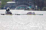 The Women's Boat Race and Henley Boat Races 2014: The Women's Reserves - Osiris v. Blondie race. Osiris (Oxford) on the left,  and Blondie (Cambridge) are still quite close together.. River Thames, Henley-on-Thames, Buckinghamshire, United Kingdom, on 30 March 2014 at 14:15, image #141